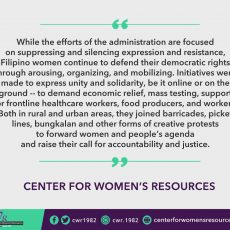 Women from different sectors celebrate International Working Women's Month by collectively fighting for their right to health, livelihood and emancipation